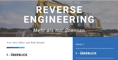 Titelseite des Infoblatts, gelber Bagger und Schriftzug Reverse Engineering
